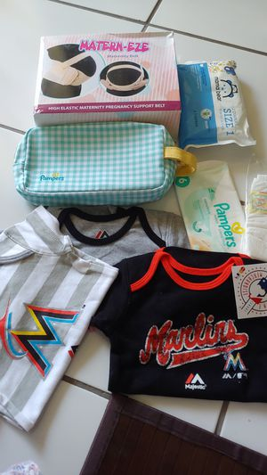 3 pcs Miami marlins baby clothes diapers maternity belt etc for Sale in Miami, FL