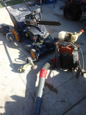 Lawn mower chainsaw weed wacker back pack blower for Sale in Corona, CA