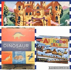 Bundle - 3 Games For Kids - Fairy Tale Castle - Dinosaur Floor Puzzle - Alphabet Train •If Is Posted Is Available• for Sale in Grand Island, FL