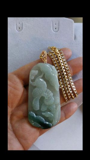 "Bundle Certified good luck genuine icy green jade jadeist phoenix flower carved pendant Trendmax gold filled chain 24"" 4mm for Sale in El Cerrito, CA"