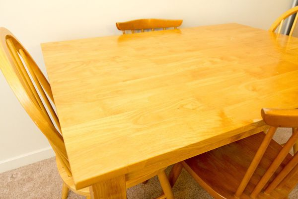Golden oak solid wood kitchen table with 4 chairs