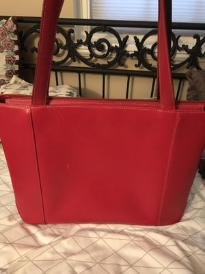 Levenger Red Leather Laptop Bag Brief Case Carry-on Tote for Sale in Arlington, VA