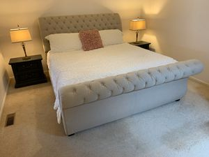 King Bed Frame with Nightstands and Lamps for Sale in Commerce Charter Township, MI