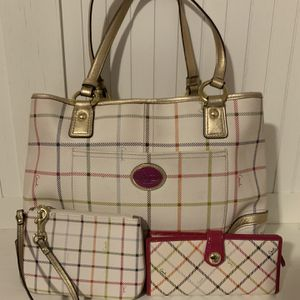 Coach Tattersall Purse With Wallet And Wristlet for Sale in Columbus, GA