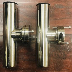 "Amarine Made Stainless Rail Mount Clamp on Fishing Rod Holder for Rails 1-1/4"" to 2"" - Set of 2 - New for Sale in Temple City, CA"