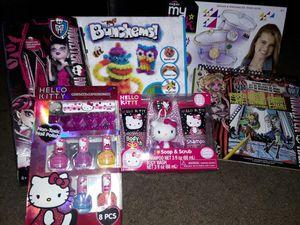 Girl monster high doll, Hello Kitty polish set,soap & scrub,monster high fashions sketch set,bracelet kit,bunchems set for Sale in Bellflower, CA