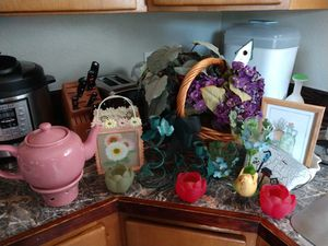 Spring Time Seasonal Lot Tea Pot Tea Candle Holders, Picture Frame, Basket, Fake Flowers, Planter, Pot, Bird House, Dish, Easter Long Table Runner for Sale in Bonney Lake, WA
