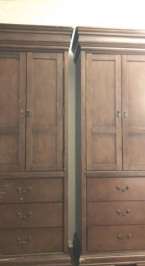 Full/Queen bed frame and cabinets real wood for Sale in Troy, NY