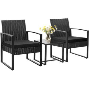 Outdoor Patio Chairs Table Cushioned Seats Bistro Style Black Outdoor Use Pool Balcony for Sale in Orlando, FL