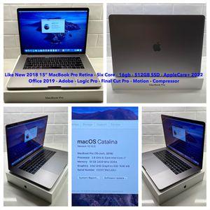 Excellent 2018 Apple MacBook Pro Touchbar, 16gb, 512gb, Office 2019, Logic, Final Cut, Applecare+ 2022 for Sale in Nashville, TN