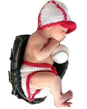Baby Infant Photography Prop Costume Baseball Crochet Knitted Hat Diaper White for Sale in West Palm Beach, FL