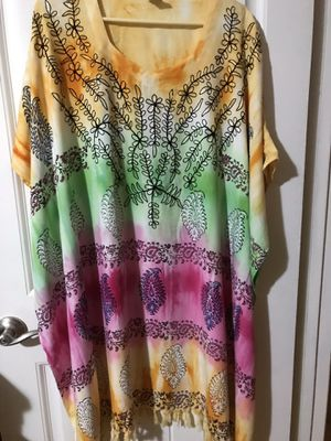 Fun Colorful Top, dress with fringe, worn once for Sale in RANCHO SUEY, CA