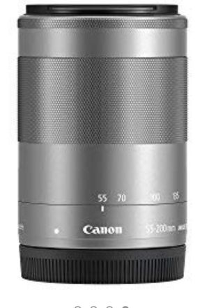 Canon EF-M 55-200mm f/4.5-6.3 Image Stabilization STM Zoom Lens (Silver) for Sale in Medford, MA