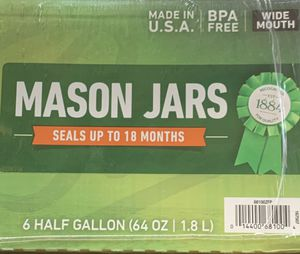 Ball Wide Mouth Canning Mason Jars, Half Gallon Clear Glass Jar, 64Oz 6 Pack NEW and SEALED for Sale in Miramar, FL