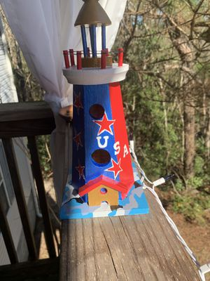 American Flag lighthouse birdhouse for Sale in STENNIS CTR, MS