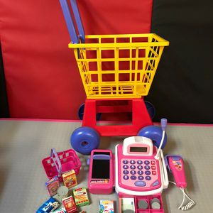 Pretend Play Electronic Toy Cash Register STEM Toy with Food and Play Money Included for Kids for Sale in Houston, TX