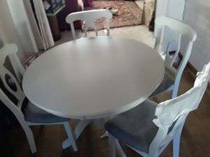 Dinning room table 4 chairs wooden white new for Sale in Sunnyvale, CA