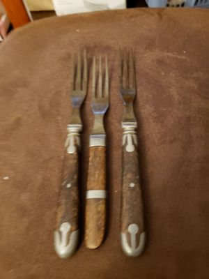 3 Vintage wood and silver fork with long tines for Sale in Stow, OH