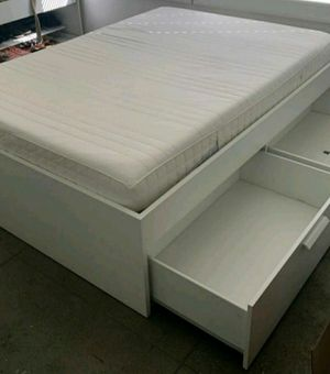 EXCELLENT CONDITION Ikea Full Double Sz Size Bedframe Bed Frame + 4 HUGE Storage Drawer Drawers INCLUDED (NO MATTRESS) for Sale in Monterey Park, CA
