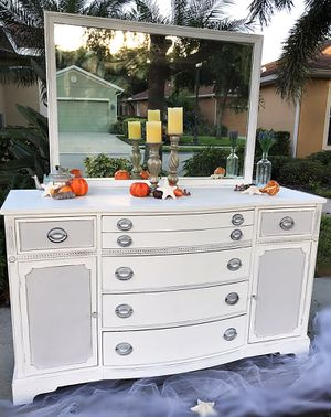 Antique grey and white dresser buffet And Mirror for Sale in Bradenton, FL