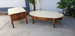 Marble top wood Coffee table end side table combo. Both pieces for 1 price. Nice used condition. Tops remove for easy transport for Sale in HUNTINGTN BCH, CA