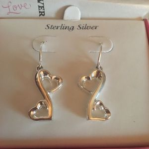 LOVE GROWS DOUBLE HEART STERLING SILVER EARINGS NEW for Sale in Claremont, CA