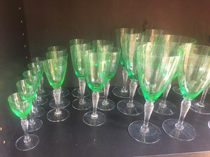 Green-tinted crystal antique - 19 glasses for Sale in Santa Monica, CA
