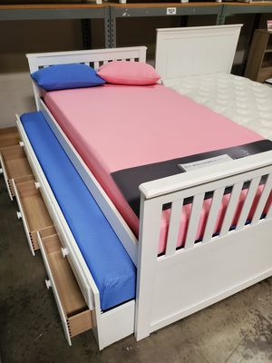 Twin White Mission Captain Bed **2 MATTRESS INCLUDED** for Sale in Norwalk, CA