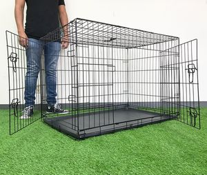 "New $55 Folding 42"" Dog Cage 2-Door Pet Crate Kennel w/ Tray 42""x27""x30"" for Sale in Whittier, CA"
