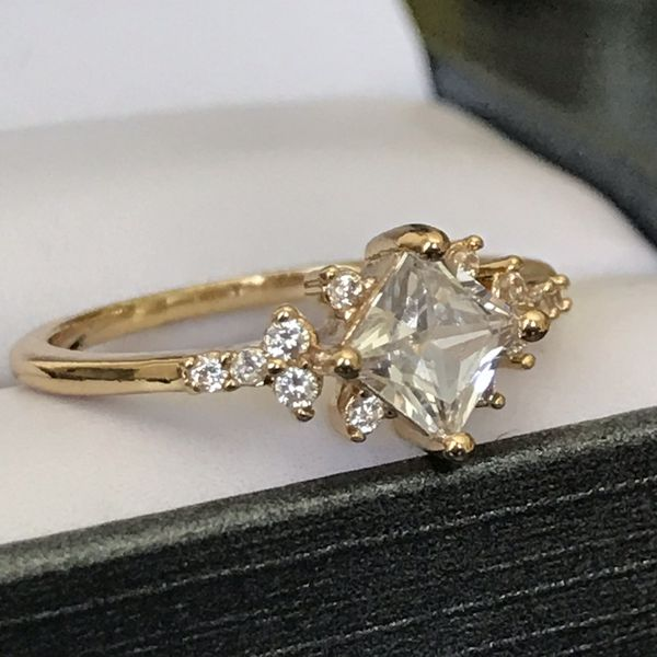 18k gold plated dazzling sapphire wedding engagement proposal love casual ring band women's jewelry accessory size 6