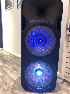 Speaker/ karaoke. Bluetooth enable and built in battery for portability made easy. Also comes with a control and microphone for Sale in Fairfax, VA