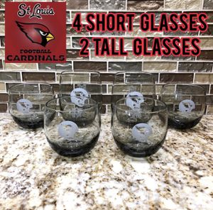 Vintage collectible St. Louis Cardinals football glass cups short and tall for Sale in Fenton, MO