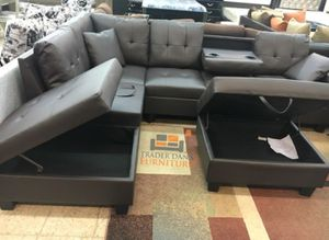 Brand New Grey Faux Leather Sectional Sofa Couch + Storage Ottoman for Sale in Washington, DC