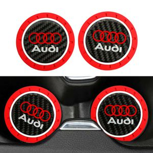 BRAND NEW 2PCS AUDI RED RUBBER CUP MAT WITH REAL CARBON FIBER EMBLEM for Sale in City of Industry, CA