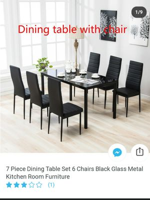 6 Piece Dining Table Set w/6 chairs Glass Metal Kitchen Room Breakfast Furniture for Sale in Camden, NJ