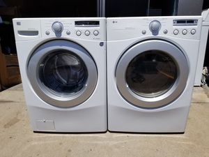 *LG FRONTLOAD WASHER AND ELECTRIC DRYER SET STACKEABLES BOTH IN GOOD WORKING CONDITION CAN DELIVER AND INSTALL for Sale in Denver, CO
