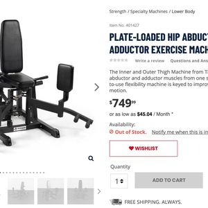 Gym Hip Abduction Machine - Leg Machine - New In Box!! for Sale in Ceres, CA