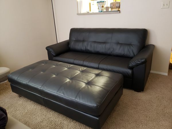 Couch with full length ottoman