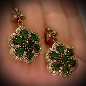 EMERALD FLOWER FINE ART DANGLE POST EARRINGS Solid 925 Sterling Silver/Gold WOW! Brilliant Facet Marquise/Round Cut Gems, Diamond Topaz M6678 V for Sale in San Diego, CA