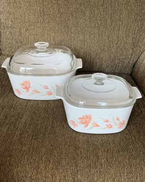 2 CorningWare Casserole Dishes w/ Pyrex Lids—Peach Floral—MUST SEE!!! for Sale in Vienna, VA