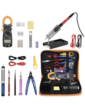 Soldering Iron Kit with Digital Clamp Multimeter,Pancellent 60W Adjustable Temperature Welding Tool,5-in-1 Screwdrivers,5pcs Soldering Iron Tips,Sold for Sale, used for sale  Plainfield, NJ