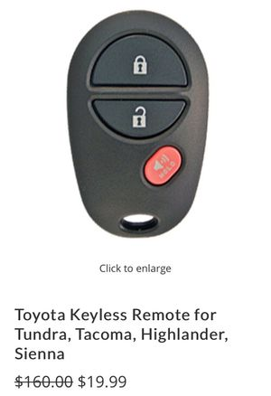 Toyota Keyless Remote for Tacoma with Online DIY Instructions for Sale in Ontario, CA