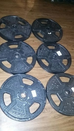 Gold's gym 6 barbell plates 25 lb. each for Sale in Houston, TX