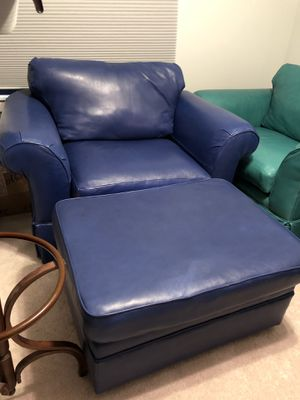 Butter Leather Overstuffed Chairs & Ottomans for Sale in Midlothian, VA
