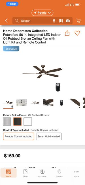 Petersford 56 inch oil rubbed bronze ceiling fan with remote for Sale in Glendale, AZ