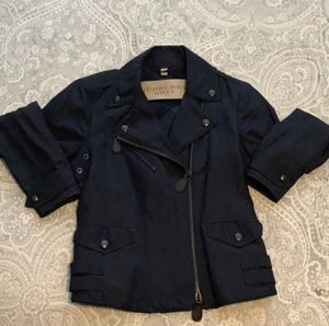 Beautiful Burberry moto jacket - navy - like new. Worn once. Perfect condition. Size US 6 UK 8 (fits more like a US 2 or 4) for Sale in Santa Monica, CA