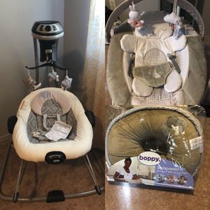 Brand NEW Swing, Bouncer And Boppy And 1 Pack Of Huggies Newborn Diapers for Sale in Scottsdale, AZ