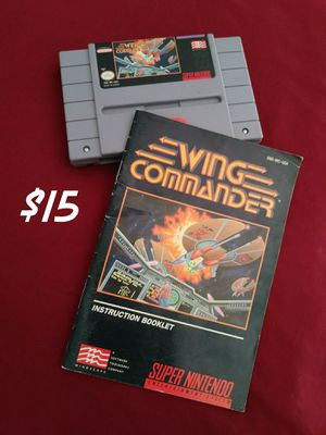 Super Nintendo SNES Wing commander game and manual for Sale in Victorville, CA