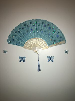 Room decor blue fan with blue surrounding butterflies Can also make in other colors for Sale in Philadelphia, PA