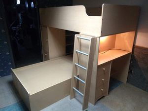 Nice twin bunk bed, desk, and bookshelf combo! for Sale in Elkhart, IN